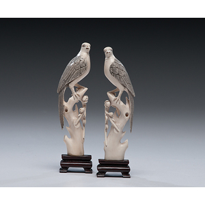 Chinese Carved Ivory Parakeets