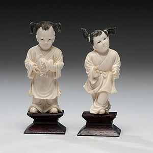 Chinese Cultural Revolution Carved Ivory Children