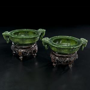 Spinach Jadeite Chinese Bowls