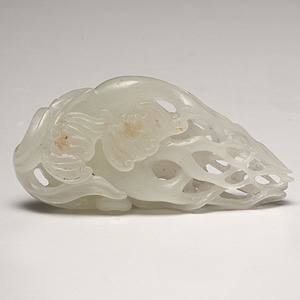 Fine Chinese White Jade Rooted Plant Carving