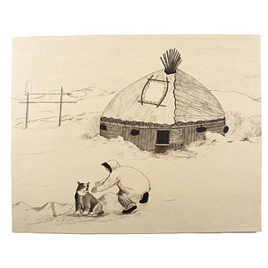 Eskimo Pen and Ink Drawing