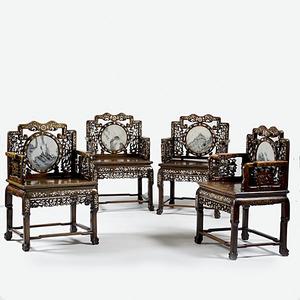 Rosewood Chinese Export Hong-Mu Armchairs