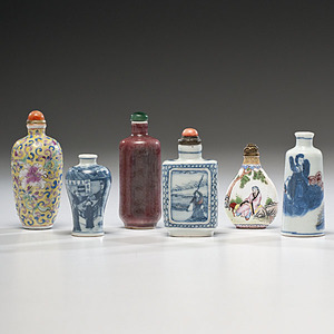 Porcelain and Enamel Chinese Snuff Bottles