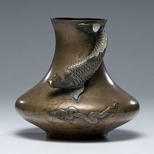 Japanese Bronze Fish Vase