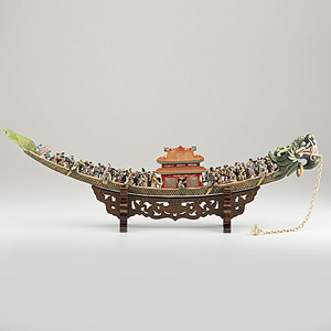 Exceptional Chinese Polychrome Ivory Figural Tusk