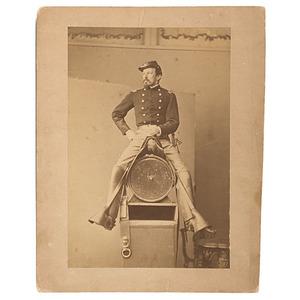 Civil War Cavalry Officer Posing Astride Barrel, Albumen Photograph