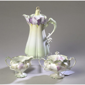 3-Piece Hand-Painted Prussian China Tea Set