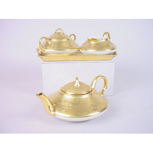 Gold-Painted Bavarian Tea Set with Tray,