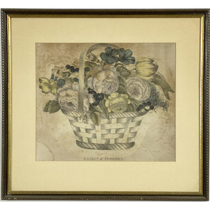 American Hand-Colored Theorem-Type Print, Entitled Basket of Flowers,