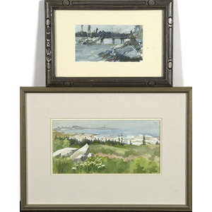 Two Contemporary Watercolor Landscapes,