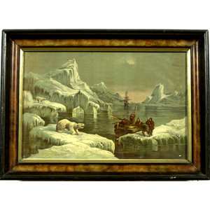 Arctic Chromolithograph of Hunters,