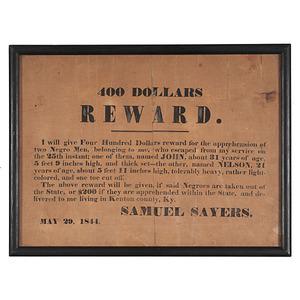 Kentucky Fugitive Slave Reward Broadside, 1844