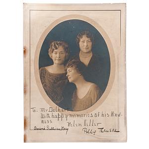 Helen Keller, Anne Sullivan, & Polly Thomson Signed Photograph