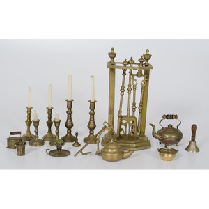 Child's Brass Fireplace Tools, Plus