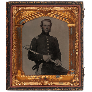 Civil War Sixth Plate Ambrotype of an Armed Cavalry Officer