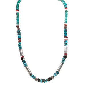Tommy Singer (b. 1940) Navajo Turquoise and Sterling Silver Necklace