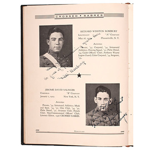 J.D. Salinger Inscribed Crossed Sabres Yearbook, Valley Forge Military Academy, Plus
