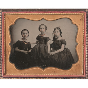 [Cased Images] Fine Half Plate Ambrotype of Three Sisters