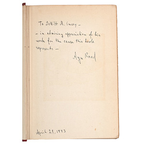 Ayn Rand, Inscribed and Signed Fountainhead