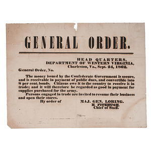 Confederate Currency Broadside, Charleston, Virginia, 1862