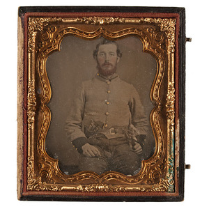 Outstanding Sixth Plate Ambrotype of Early Tennessee Cavalryman