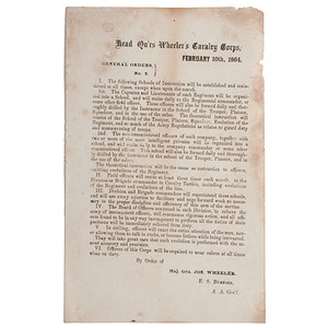 Confederate General Wheeler's General Orders, February 1864