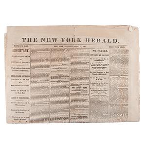 Abraham Lincoln's Assassination, New York Herald, April 15, 1865