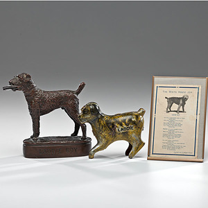 President Warren Harding's Dog, Laddie Boy Statue & Wind-Up Toy