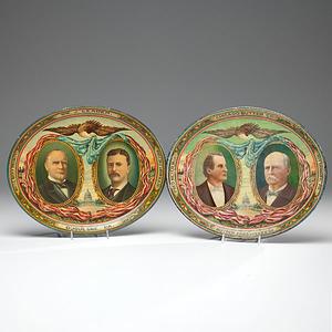 McKinley / Roosevelt & Bryan / Stevenson Jugate Lithographed Tin Trays
