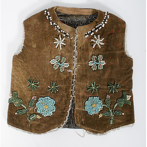 Plateau Child's Beaded Corduroy Vest Deaccessioned from the Henry County Historical Society, Indiana