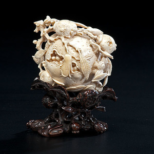 Very Fine Chinese Ivory Pomegranate Carving