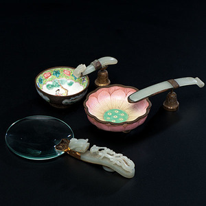 Chinese Ashtrays and Magnifying Glass in Jade and Enamel