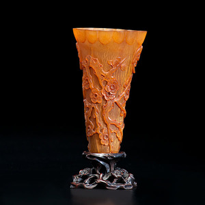 Chinese Buffalo Horn Wine Cup on Stand