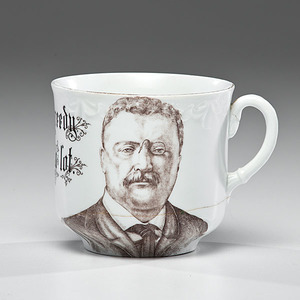 Rare Theodore Roosevelt Portrait Cup, I am not greedy