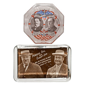 Taft & Sherman Jugate Campaign Glass Paperweights
