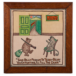 Roosevelt & Taft, Teddy Bear & Billy Possum Hand-Stitched Campaign Textile
