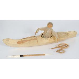Eskimo Model Kayak with Hunter