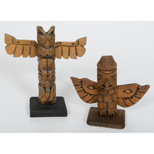 P. Johnson and Henry Rudick Carved Totem Poles