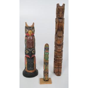 Northwest Coast Carved Tourist Totem Poles