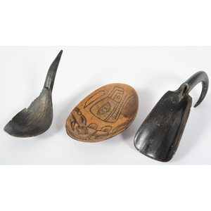 Horn Spoons and Carved Horn Bowl
