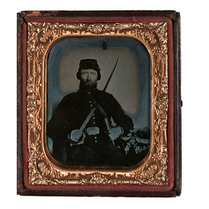 Sixth Plate Ambrotype of Armed Federal Cavalryman