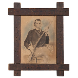 Confederate Soldier Newell French, 2nd Virginia Volunteers, Civil War-Era Charcoal Drawing