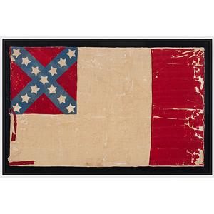 Attributed Confederate Third National Silk Flag Captured with Jefferson Davis