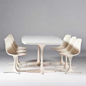 Eero Saarinen Style Conference Table and Tulip Chairs
