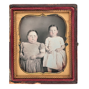 Sixth Plate Daguerreotype of Two Young Girls, Including Unusually Heavy-Set Girl
