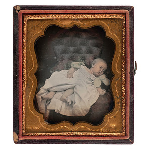 Sixth Plate Daguerreotype of Baby, Either Sleeping or Postmortem, by Anson