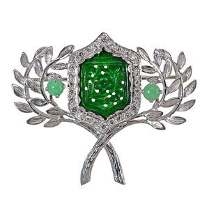 Platinum Brooch with Diamonds and Jade