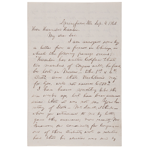 Abraham Lincoln ALS to Hannibal Hamlin, 4 September 1860, Emphasizing the Importance of Winning Maine in the Upcoming Election