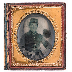 Civil War Sixth Plate Ambrotype of Soldier Holding Bible