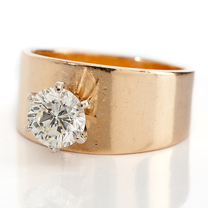 14 Karat Yellow Gold Wide Band Solitaire Diamond Ring